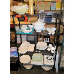 Metal 5 Tier Wire Shelf & Contents: Serving Dishes, Plates, Cups, Flutes, etc