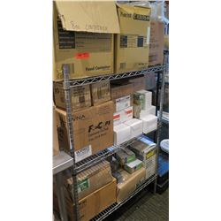 Metal 2 Tier Wire Shelf & Contents: Food & Beverage Containers, Bags, etc