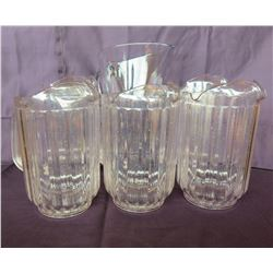 "Qty 6 Water Pitchers 9"" High 5"" Diameter"