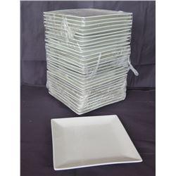 "Qty 30 Edward Don & Company White Square Serving Plates 7.25"" Diameter"