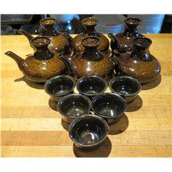 Qty 6 Sake Tea Pot Decanters w/ 6 Cups