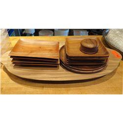 Multiple Kamani Wood Misc Size Square & Round Plates, Oval Tray, etc