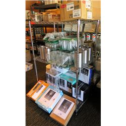 Contents of Shelf:  Glassware, Stainless Steel Containers, Plates, etc