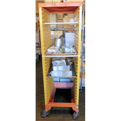 Rolling Metal Pan Storage Rack with Contents
