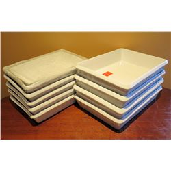 "Qty 9 BIA Cordon Bleu White Rectangle Dishes 13""x10"" / 12""x7"""