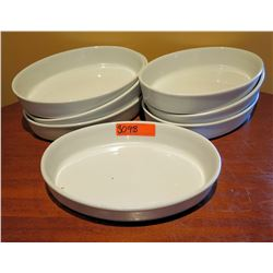 "Qty 7 White Oval Serving Dishes 13""x9"""