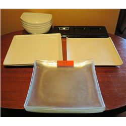 Multiple White & Glass Square Plates, 4 Over and Back Side Dishes, etc