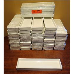 "Qty Approx. 42 Rectangle Edged Dishes 11""x3.5"""