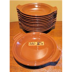 "Qty Approx. 12 Syracuse Terra Cotta Brown Round Dishes w/ Handles 10""x9"""