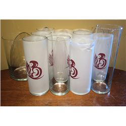 Qty Approx. 9 Tall Glasses, 2 Clear Glasses & Pitcher