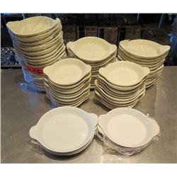 "Qty Approx. 60 Round Dishes w/ Handles 8""x7"" / 10.5""x8"""
