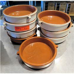 """Qty 8 Brown White Bowls w/ Handles 8"""" Diameter"""