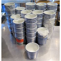 "Qty Approx. 65 White Blue Rice Bowls 3"" Diameter"