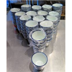 "Qty Approx. 75 White Blue Rice Bowls 3.5"" Diameter"