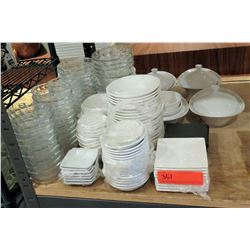 Multiple Square & Round Plates in Misc Sizes, Glass Bowls, Serving Dishes, etc