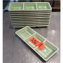 "Qty 11 Green 3 Section Rectangle Condiment Trays 8"" Long"