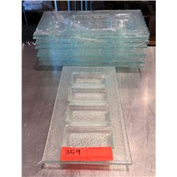 "Qty Approx. 9 Clear 4-Section Rectangle Condiment Trays 12""x6"""