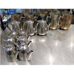 Multiple Single Serving Tea Pots, Silver Plated Water Pitchers, etc