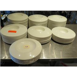 """Qty Approx. 55 White Round Plates & Bowls 11"""" Diameter"""