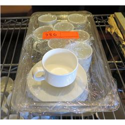 Qty 8 Sant' Andrea Montague White 3.5 oz Coffee Cups & Saucers in Bin