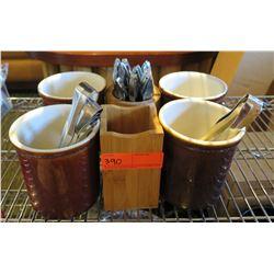 Qty 4 Brown Ceramic Holders, 2 Wood Holders, Tongs & Misc Utensils