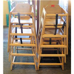 """Qty 6 Stacking Wooden Baby High Chairs 12"""" Diameter x 28"""" High"""