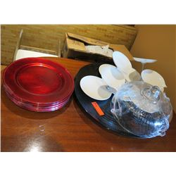 Multiple Medici Decorative Plates, Cake Cover & Misc Dishes