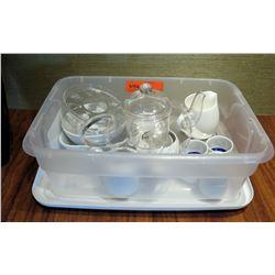 Bin Clear Glass Containers w/ Lids, Ceramic Condiment Cups, Creamers, etc