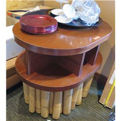 """Wood 2 Tier Oval Table w/ Bamboo Base 42""""x30""""x36"""" (table only)"""