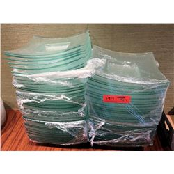 """Qty Approx. 55 Green Frosted Square Bowls 10"""" Diameter"""