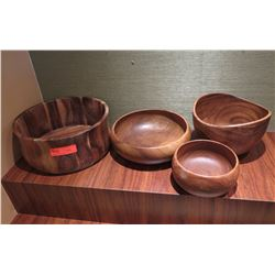 Qty 4 Carved Decorative Wooden Bowls