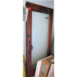 "Glass Door w/ Koa Wood Frame, Handle & Latch 36""x48"""