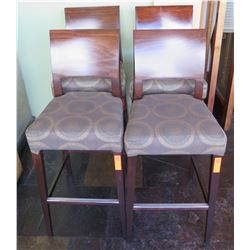 """Qty 4 Wood High Back Chairs w/ Upholstered Seats & Foot Rail 40"""" High"""