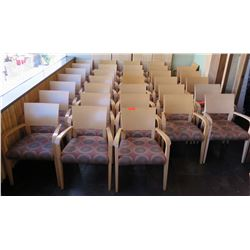 """Qty 33 Wood Backed Arm Chairs w/ Upholstered Seats 34"""" High"""