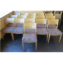 """Qty 16 Wood Backed Chairs w/ Upholstered Seats 34"""" High"""