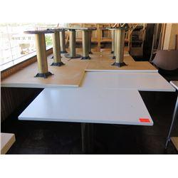 """Qty 8 Rectangle White Tables w/ Double Pedestal Base 50""""x30""""x29"""""""