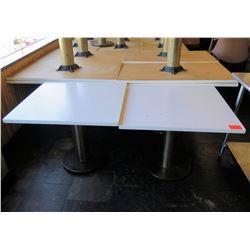 """Qty 2 Square White Tables w/ Pedestal Base 36""""x36""""x29"""""""