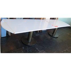 """Qty 2 Long White Tables - 75""""x33""""x29"""" / 54""""x33""""x29"""""""