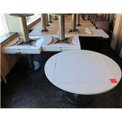 """Qty 5 Square Tables w/ Round Leaf Expands 36""""x36""""x29"""" Closed, 51"""" Dia Open"""