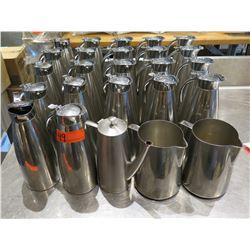 Multiple Metal Tea Pots, Water Pitchers, Coffee Carafes, etc