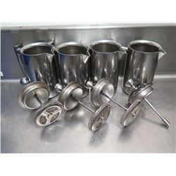 Qty 4 Freiling Double-Wall Stainless Steel French Coffee Presses (1 missing strainer)