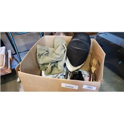 BOX OF FENCING GEAR, HELMET, COAT