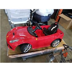 FERRARI F12 POWERED KIDS CAR - NO CHARGER, NO WINDSHIELD, UNTESTED