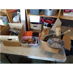 2 BOXES OF TOOLS, MASTERCRAFT SAWS, ETC