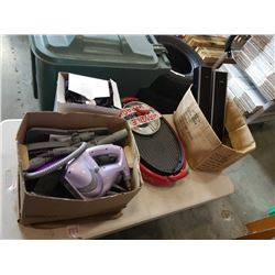 LOT OF SPEAKERS, STEAMER, SHOE COVERS AND GRILL