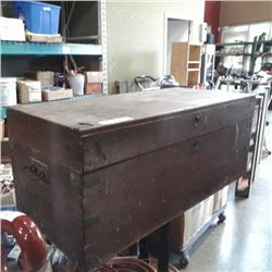 WOOD TRUNK WITH HAND SAWS