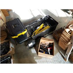 2 WHEEL TOOLBOX, TOTE WITH TOOLS AND POST DIGGER