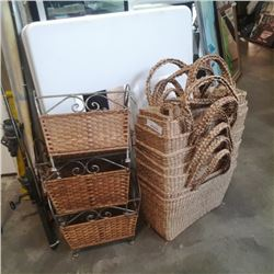 LOT OF WOVEN BASKETS SOME DECORATIVE METAL