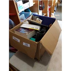 Box of binders and pencils