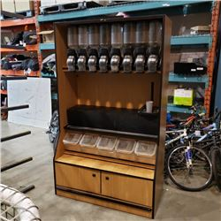 7FT TALL BY 5 FT WIDE BULK FOODS STATION WITH DISPENSERS AND BINS